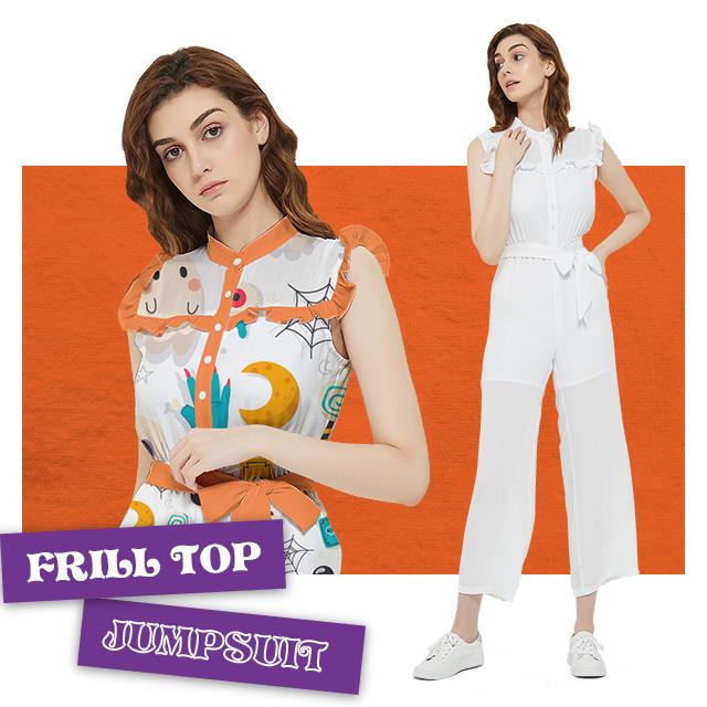 Custom Women's Frill Top Jumpsuit