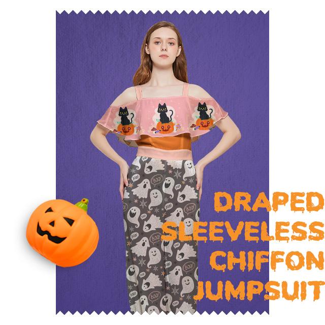 Custom Draped Sleeveless Chiffon Jumpsuit