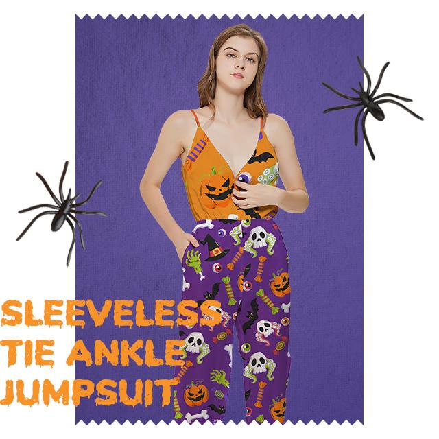 Custom Sleeveless Tie Ankle Jumpsuit